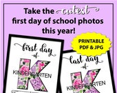 First Day of Kindergarten Sign, First Day of School Sign Instant Download, Floral 1st Day of School Sign 2019, 1st Day of Kindergarten