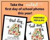 Back to School Sign 4th Grade, First Day of School Sign White, First Day and Last Day of School Sign, 4th grade sign, 1st Day of School Sign