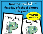 First Day of Preschool Sign, Back to School Sign Preschool Boy, 1st Day of Prechool Sign, Printable First Day of School Sign for Boy, Plaid