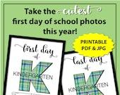 First Day of School Kindergarten Sign Boy, 1st Day of School Sign, 1st Day of Kindergarten Sign, First Day of School Sign Printable