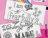 Fearfully and Wonderfully Made Pencil Pouch, Bat Mitzvah Gift, Essential Oil Bag, Cute Christian Gifts for Girls, Makeup Bag, Cosmetic Bag