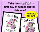 First Day of School Sign Instant Download, First Day of Fourth Grade Sign, Back to School Sign 4th Grade Girl, 1st Day of School Photo Props