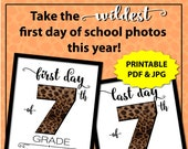 Animal Print Photo Props, Back to School Sign 7th Grade, First Day of School Sign Printable, Leopard Print 1st Day of School Sign, Cheetah