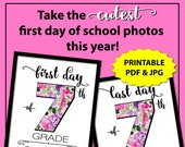 Back to School Sign 7th Grade, First Day of School Sign Instant Download, First Day of Junior High School Sign, 1st Day of School, Floral