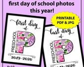 First Day of Preschool Sign for Girl, Floral Print Back to School Sign, 1st Day of Preschool Sign Printable, Last Day of School Sign