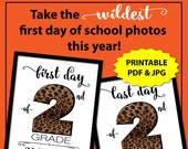 First Day of Second Grade, Leopard Print, First Day of School Sign Printable, Animal Print, 1st Day of School Sign, Back to School, Cheetah