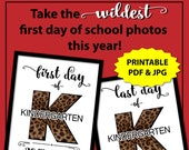 First Day of Kindergarten Sign, Leopard Print 1st Day of School Sign, Cheetah Print 1st Day of Kindergarten Sign, Animal Print Photo Props