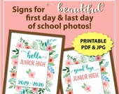 First Day of Junior High Sign, Back to School Sign Instant Download, Last Day of School Sign Printable, Floral 1st Day of School Sign Girl