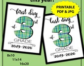 First Day of Third Grade Sign, Back to School Sign 3rd grade Boy, 1st Day of School Sign, First Day of School Sign White, Plaid, Printable