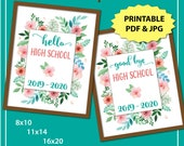 First Day of High School Sign, First Day of School Sign Printable, 1st Day of School Sign, Back to School Sign Instant Download, Floral