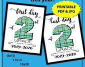 First Day of Second Grade Sign, First Day of School Sign White, 1st Day of School Sign, Boy Photo Props, Plaid, Printable, Instant Download