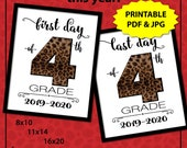 First Day of School Sign Printable, Animal Print Photo Props, Back to School Sign 4th Grade, Leopard Print 1st Day of School Sign, Cheetah