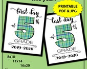 Back to School Sign Boy, 5th Grade, First Day of School Sign Printable, First Day of Middle School Sign, 1st Day of School Sign, Photo Prop