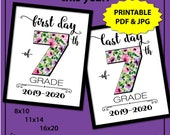 Back to School Sign 7th Grade, First Day of School Sign Printable, First Day of Junior High Sign, 1st Day of School Sign, Photo Prop