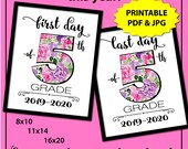 Back to School Sign 5th Grade, First Day of School Sign Printable, First Day of Middle School Sign, 1st Day of School Sign, Photo Prop