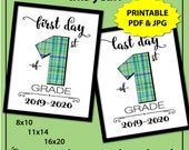 Preppy Green Plaid First Day of First Grade Sign, Boy Back to School Sign, First Day of School Sign Printable, 1st Day of School Sign