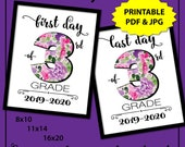 First Day of 3rd Grade Printable Sign, First Day of School Sign White, 1st Day of School Sign, Back to School Sign, Cute School Supplies
