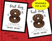 First Day of School Sign Instant Download, Leopard Print 1st Day of School Sign, Cheetah Print First Day of 8th Grade, Back to School Sign