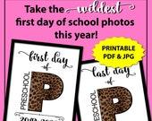 First Day of Preschool Sign, Leopard Print First Day of School Sign Printable, Cheetah Print 1st Day of School Sign, Animal Print Photo Prop