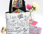 Psalm 139 Fearfully and Wonderfully Made Tote Bag, Scripture Totes, Christian Tote Bag for Bible Journaling Supplies, College Student Gift