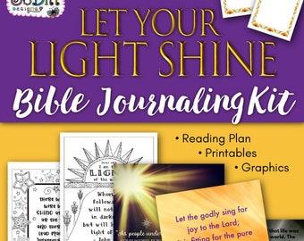 Let Your Light Shine Bible Journaling Kit - Bible Reading Plan, Bible Verse Print, Printable Coloring Pages, Prayer Journal, Scripture Cards