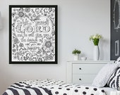 Psalm 37:4 Delight Yourself in the Lord, Coloring Poster, Teen Girl Room Decor, Scripture Wall Art, Baptism Gift, Bible Verse Prints