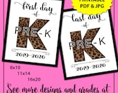 First Day of Pre-K Sign, Leopard Print 1st Day of School Sign Printable, Cheetah Print First Day of School Sign, Animal Print Photo Props