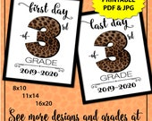 Leopard Print First Day of School Sign Instant Download, 1st Day of School Sign, Back to School Sign, Cute School Supplies, Animal Print