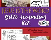 Bible Journaling Printable, Jesus is the Word Bible Study/Bible Journaling Kit, Printable Coloring Pages, Bible Verse Art, Anxiety Relief