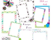 Rainbow Printable Journal Cards, Scripture Memory Cards, Project Life Inspired 3x4 4x6 printable Note Cards PDF & PNG, Digital Scrapbooking
