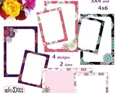 Floral Printable Journal Cards, Scripture Memory Cards, Project Life Inspired 3x4 4x6 printable Note Cards PDF & PNG, Digital Scrapbooking