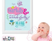 Psalm 139 Fearfully and Wonderfully Made Bible Verse Wall Art, Scipture Prints, Girl Baby Shower Gift, Christian Nursery Wall Decor
