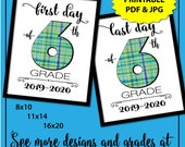 First Day of School Sign 6th Grade Boy, Plaid 1st Day of School Sign, First Day of School Sign Printable, Instant Download, Back to School
