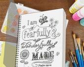 Fearfully and Wonderfully Made Psalm 139 Prayer Journal, Spiral Notebook Gratitude Journal, Sketchbook, Christian Gifts for Teens, Girls