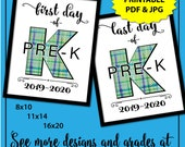 First Day of Pre-K Sign Boy, Plaid 1st Day of School Sign, 1st Day of Pre-K Sign, First Day of School Sign Printable, Instant Download