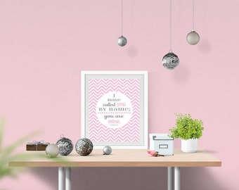 Pink and grey Baby girl nursery wall art printable INSTANT DOWNLOAD pink chevron or dots & Bible verse - baby girl nursery decoration