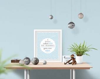 Blue and grey Baby Boy nursery wall art printable INSTANT DOWNLOAD blue chevron or dots & Bible verse - baby boy nursery decoration