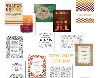 Thanksgiving Printable Bundle, Give Thanks Sign, Thanksgiving Decor, Thankful clipart, Bible Verse Wall Art, Coloring Pages, Scripture Print