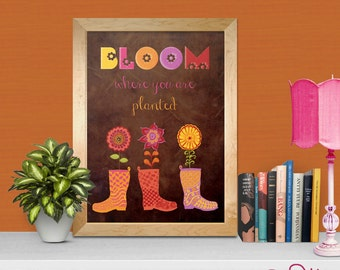 Girls wall art- Bloom Where You Are Planted PRINTABLE wall art boho chic decor - flowers in rain boots INSTANT DOWNLOAD printable wall art