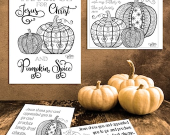 Pumpkin Bible Journaling Kit - Coloring Pages and Bible Journaling Printables, Pumpkin Clipart, Bible Verse Prints, Christian Stickers