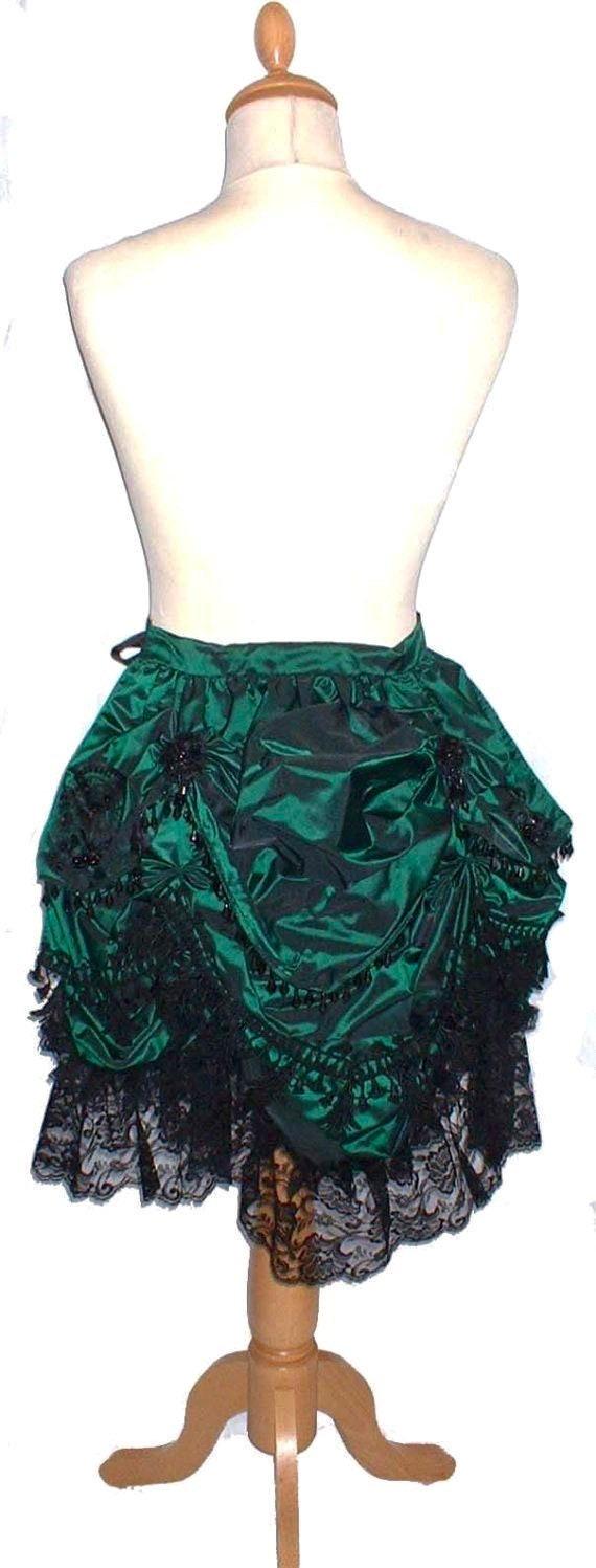 Bustle Skirt Victorian Fantasy Emerald Green Silk