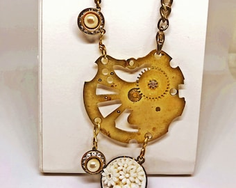steampunk watch parts rhinestones repurposed necklace