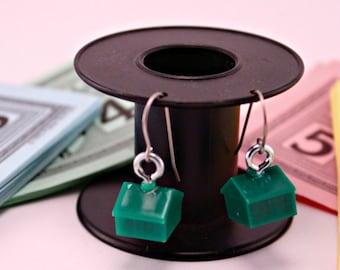 Green Monopoly Hotel Token Pierced Earrings Game Piece
