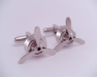 Silver Airplane Working Rotating Spinning Propeller Cufflinks Cuff links Aviation Graduation