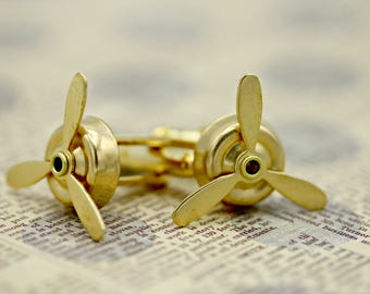 Brass Gold Airplane Working Rotating Spinning Propeller Cufflinks Cuff links Aviation Graduation