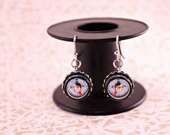 Working Mini Compass Earrings