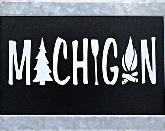 Michigan Vinyl Camping Artwork on Galvanized Metal