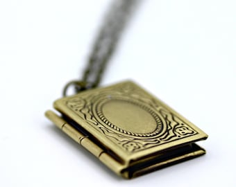 Itty Bitty Book Locket on 18 inch Brass Chain