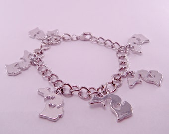 State of Michigan Silverplated Charm Bracelet 7 Inches