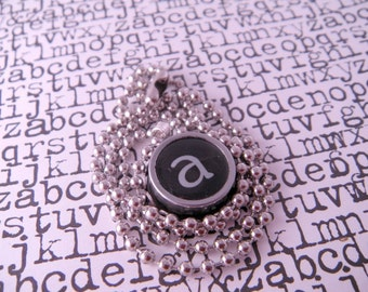 Vintage Typewriter Key Necklace Pendant Letter A with 18 Inch Ballchain